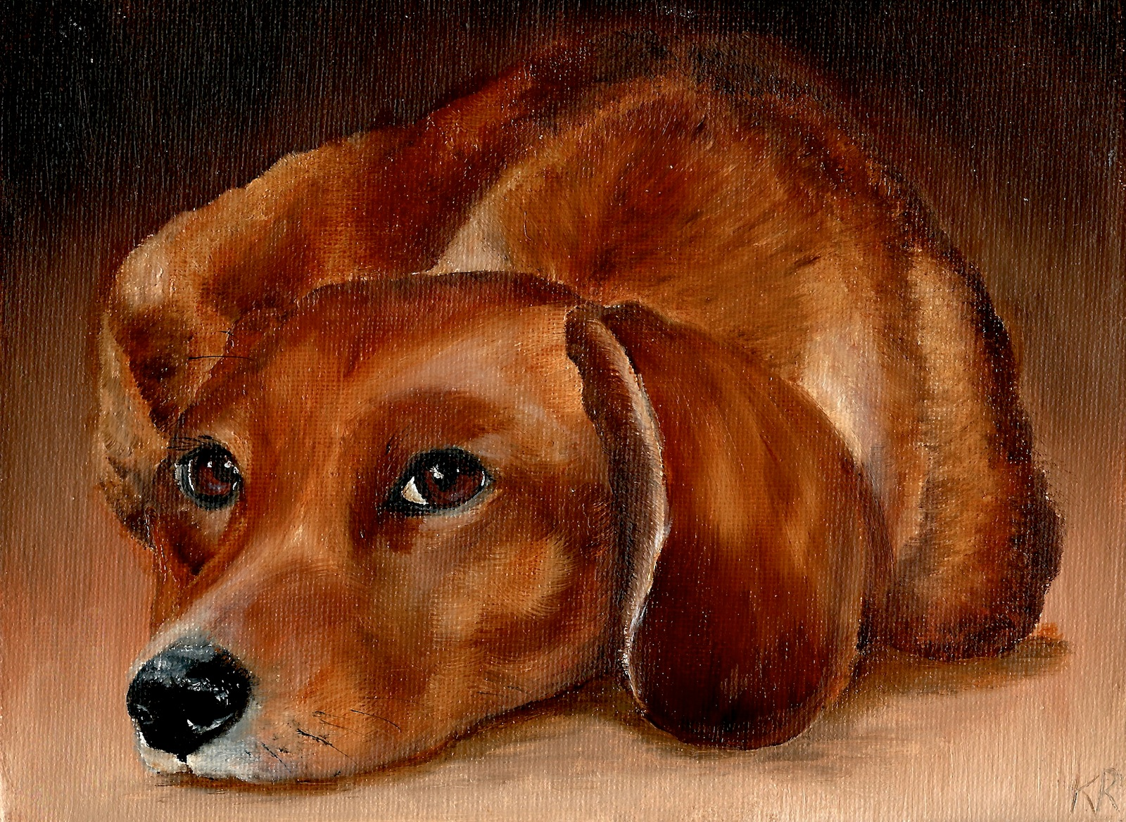 oil painting of a dachshund, a pet portrait by karen