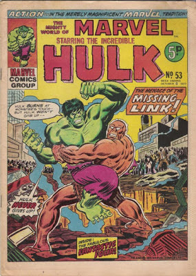 Mighty World of Marvel #53, Radioactive caveman the Missing Link holds the Incredible Hulk aloft