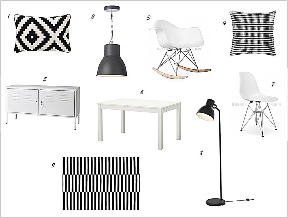 Decoraci n f cil estilo nordico blanco y negro low cost for Lamparas salon ikea