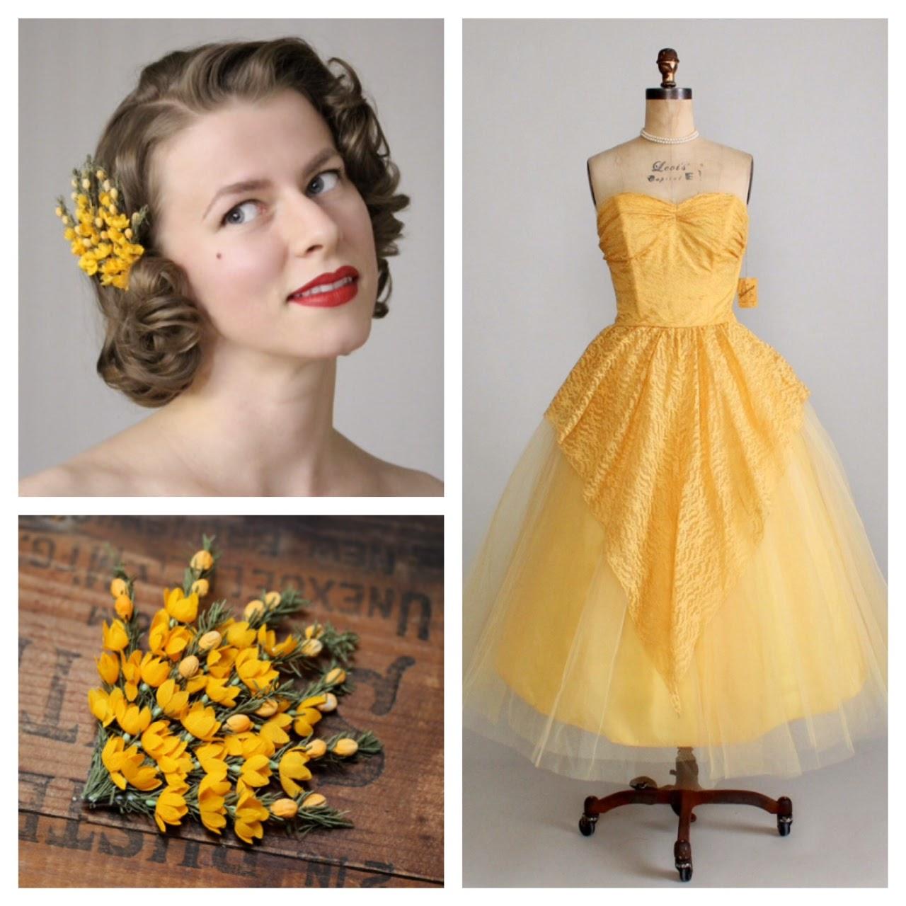 Saffron Sunrise - 1950s golden dress pairing #1950s #dress #gold #saffron #yellow