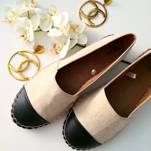 Chanel Espadrille look a likes, Target shoes, Target Espadrilles, Chanel Gold CC Earrings,