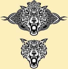 Desenho de tatuagens de lobos