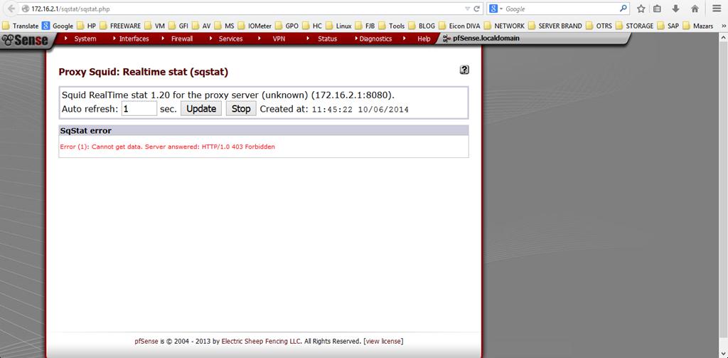 "PFSense Proxy Squid Sqstat ""Error (1)Cannot get data. Server answered : HTTP/1.0 403 Forbidden"""