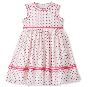 MyHabit: Baby CZ by Carolina Zapf: Polka-Dot Dress - Medium-weight woven with a polka-dot print and ruffled trim, heavily-gathered skirt with a belted velvet tie, velvet trim along hem, back button closure, skirt lined for fullness