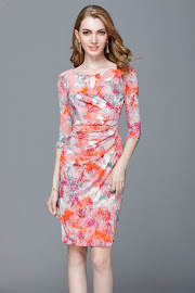 2017 5-Design Three Quarter Sleeve Front Hollow-Out OL Dress