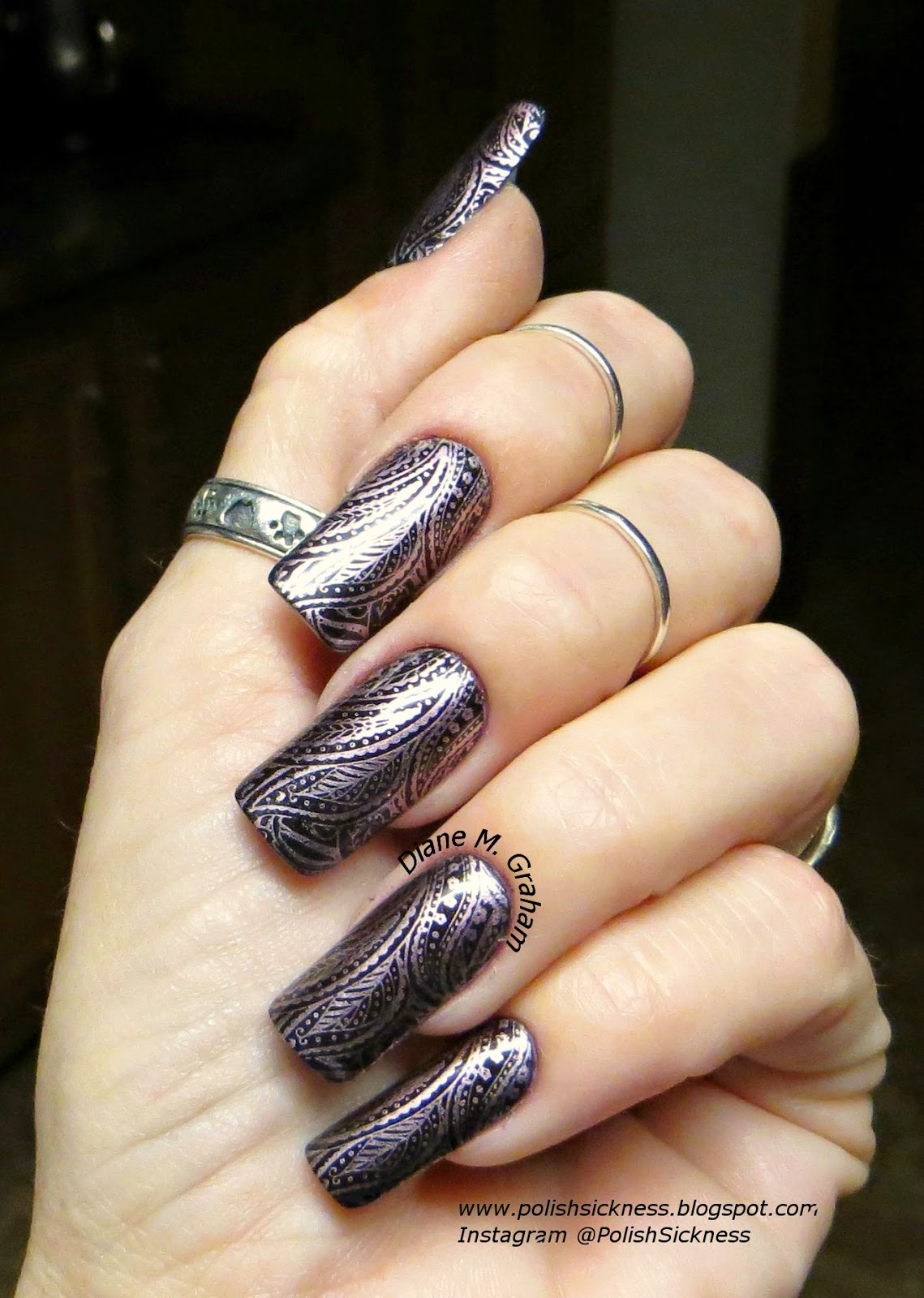 OPI Lincoln Park After Dark, China Glaze Admire, Ali Express AP-10 stamp