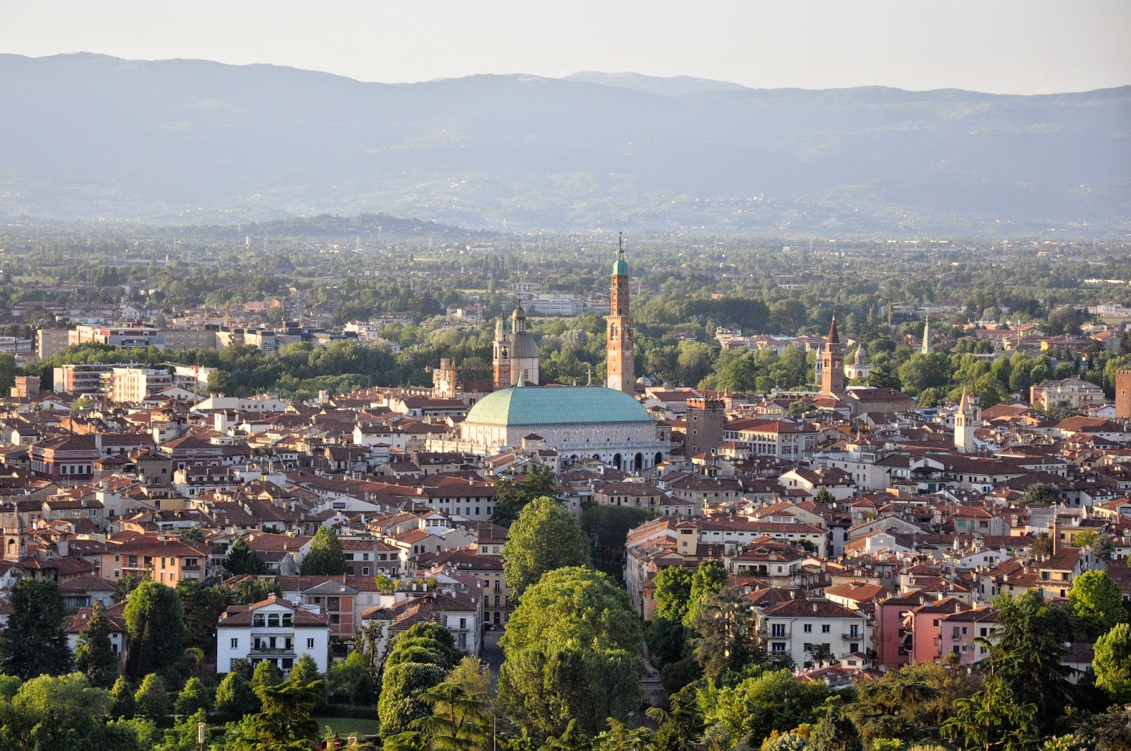 Vicenza and Palladio's Basilica seen from Monte Berico, Veneto, Italy