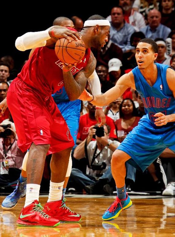 Miami Heat s Lebron James wearing his signature Christmas Lebron X s Lebron 10 Christmas On Feet