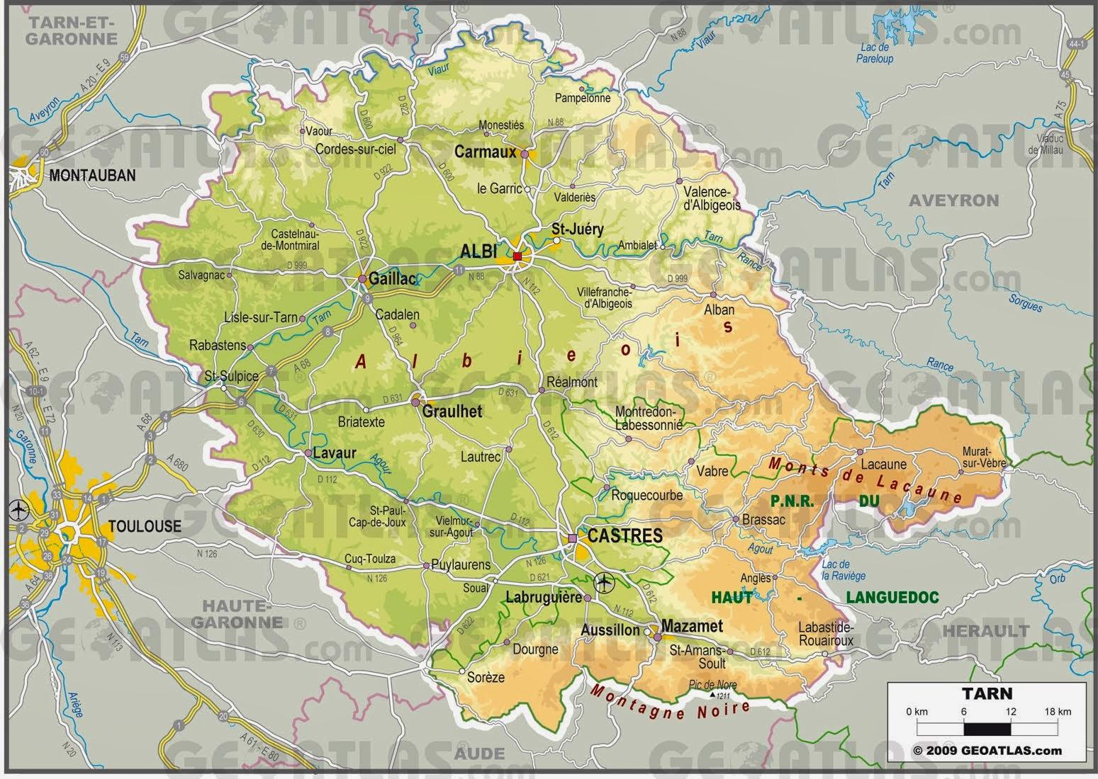 Carte du département du Tarn