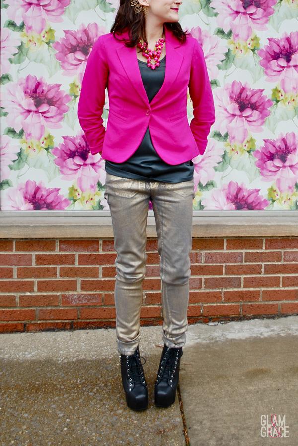 Akron fashion - floral - metallic denim