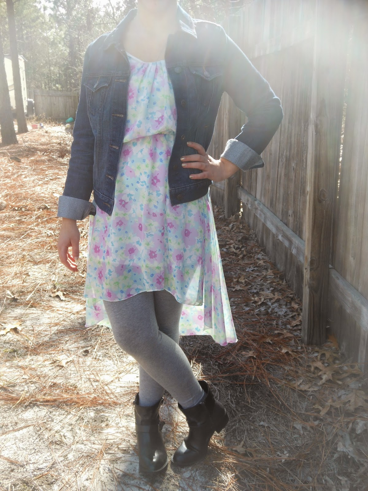 How to Wear a Dress in Winter || 02. Hi low dress, grey leggings, black ankle boots, jean jacket
