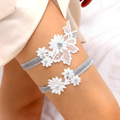 white and silver lace wedding garter