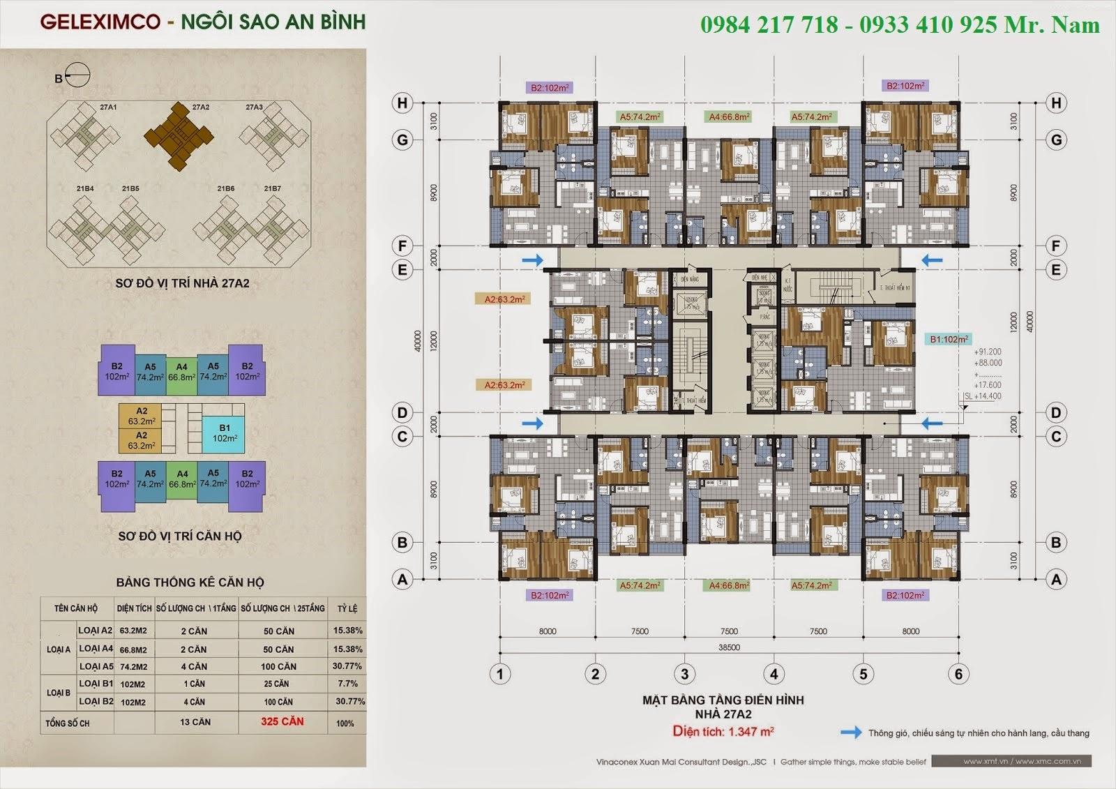 Mặt bằng sàn căn hộ toà nhà 27A2 chung cư Green Stars