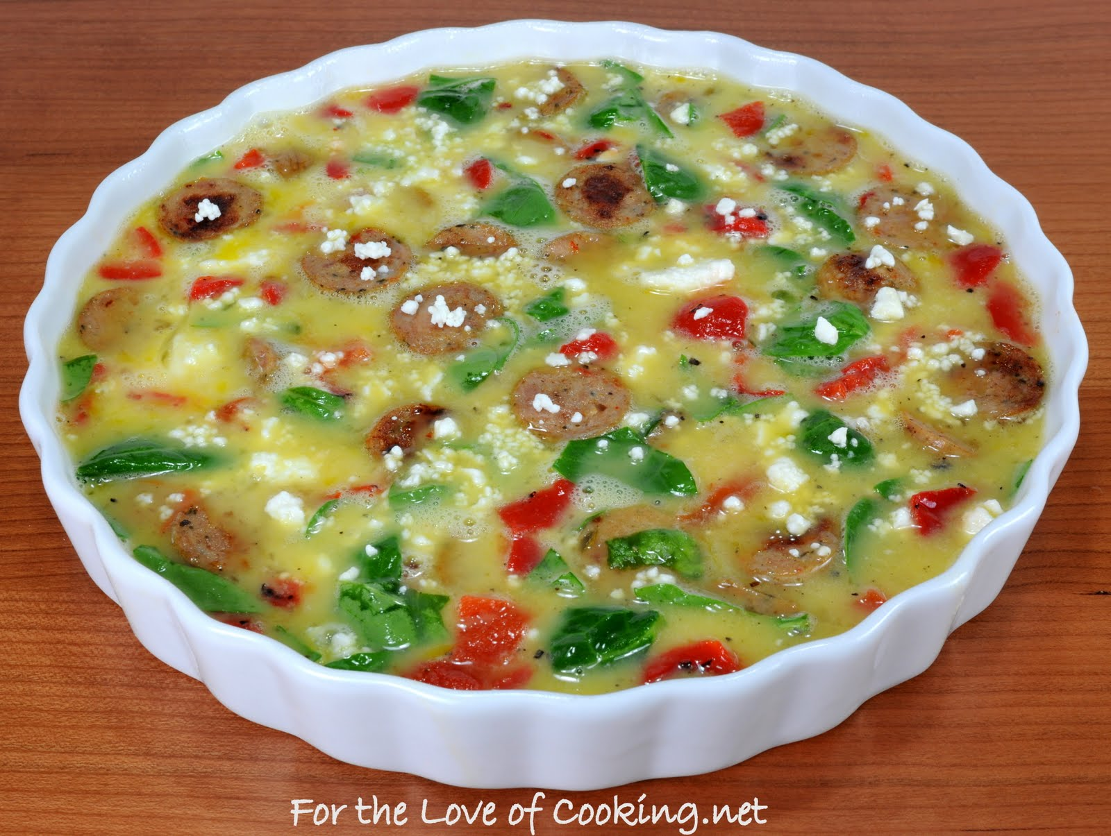 with Jalapeno Chicken Sausage, Spinach, Roasted Bell Peppers, and Feta ...