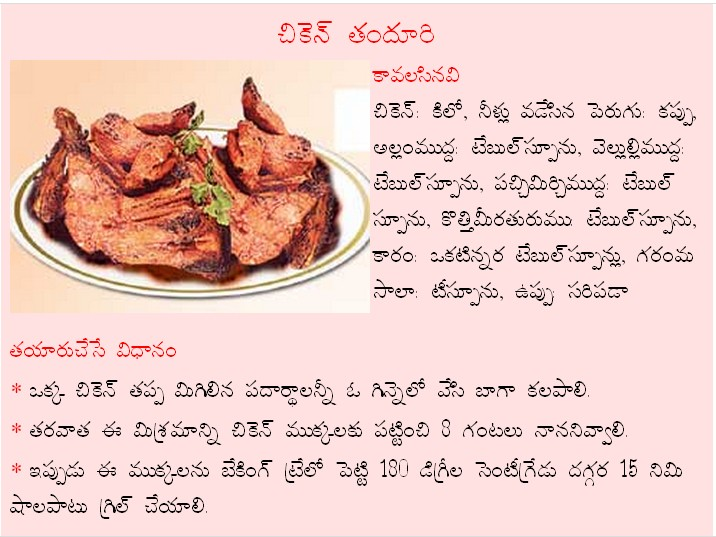 Mana vuri vantalu chicken thandhuri recipe in telugu chicken thandhuri recipe in telugu forumfinder Choice Image