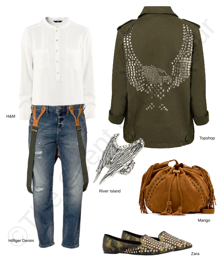 hilfiger denim jeans, mango bag, topshop jacket, river island ring, h&m white shirt, zara army studs loafers