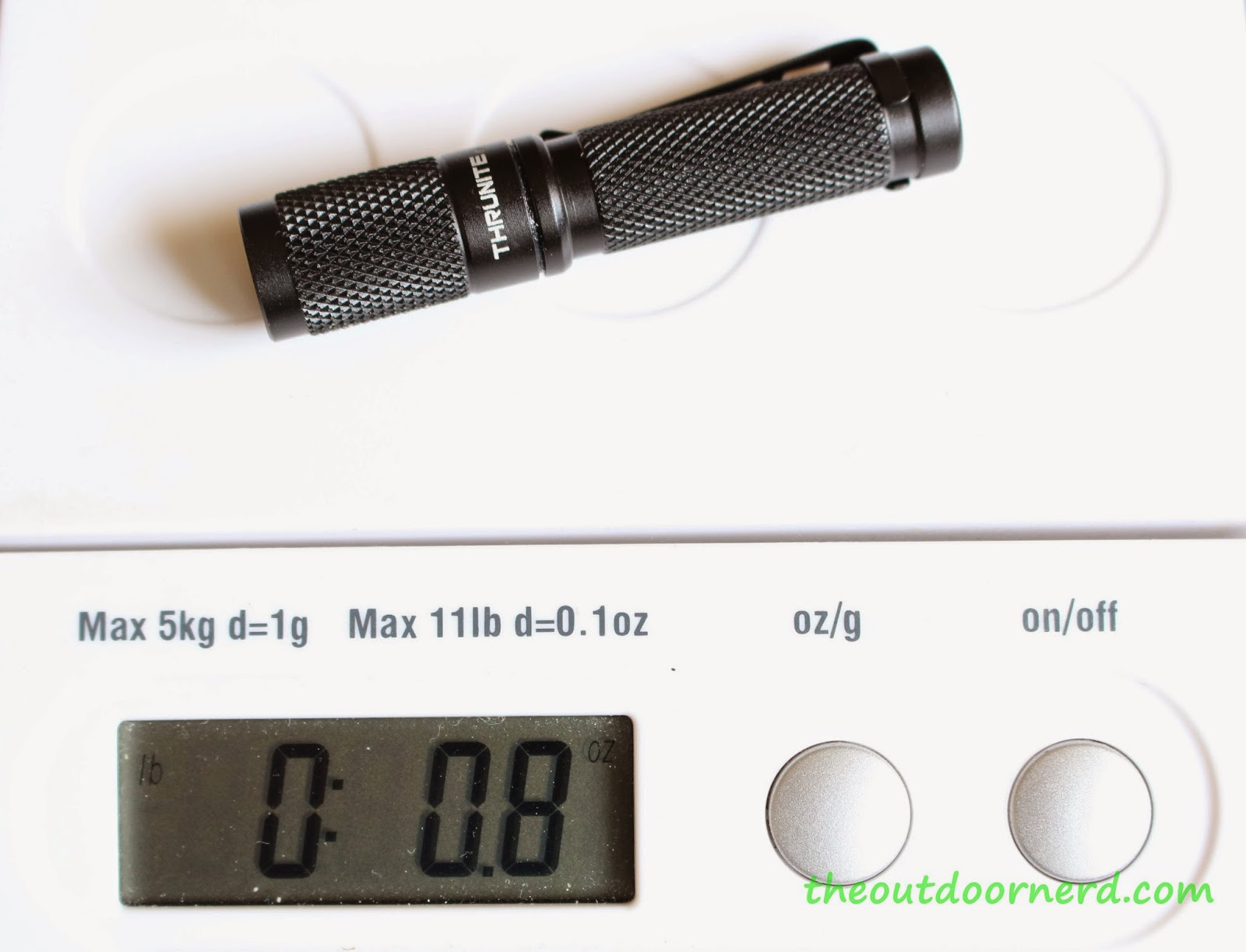 Thrunite Ti3 1xAAA EDC Flashlight: On Scale
