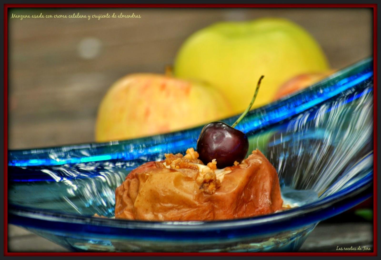 Manzana asada con crema catalana y crujiente de almendras 05