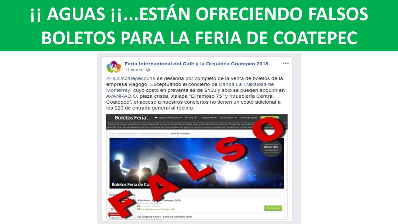 FALSOS BOLETOS PARA LA FERIA DE COATEPEC