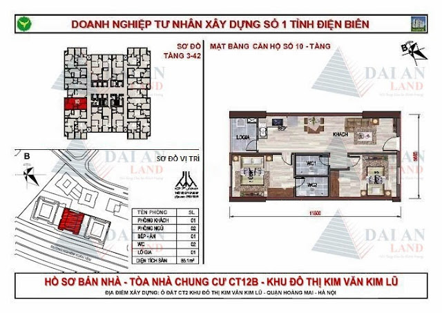 Căn 10 - Tòa CT12B Chung Cư Kim Văn Kim Lũ