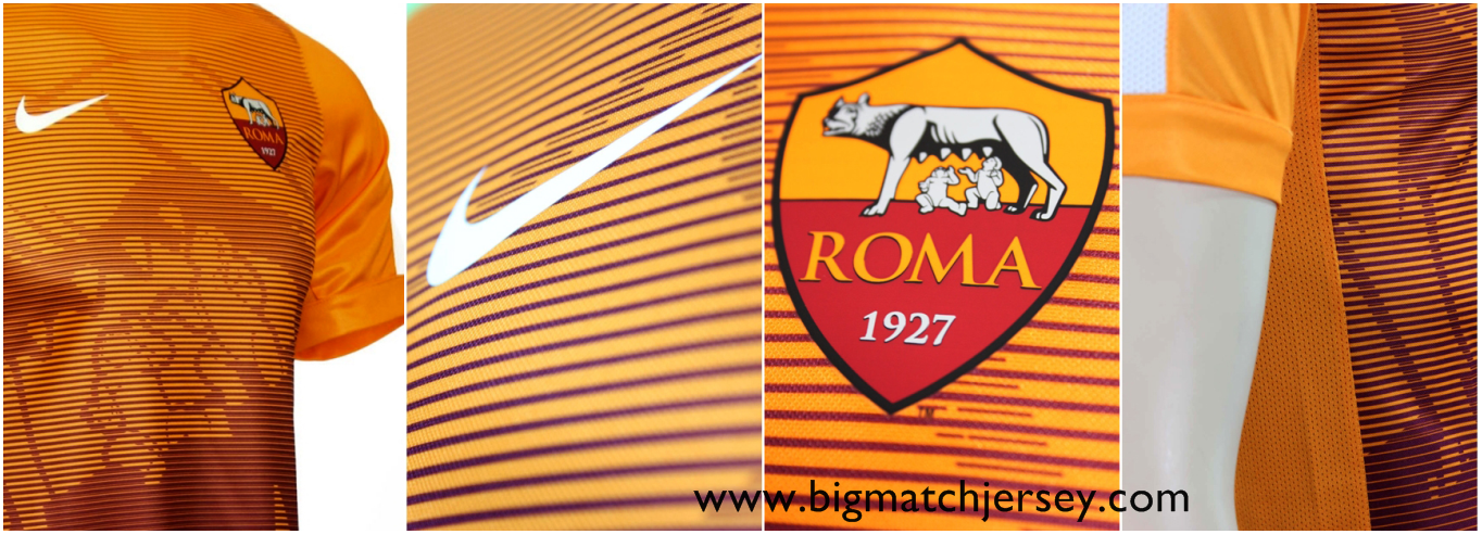 Detail Jersey Bola Pre-Match As Roma Orange 2015