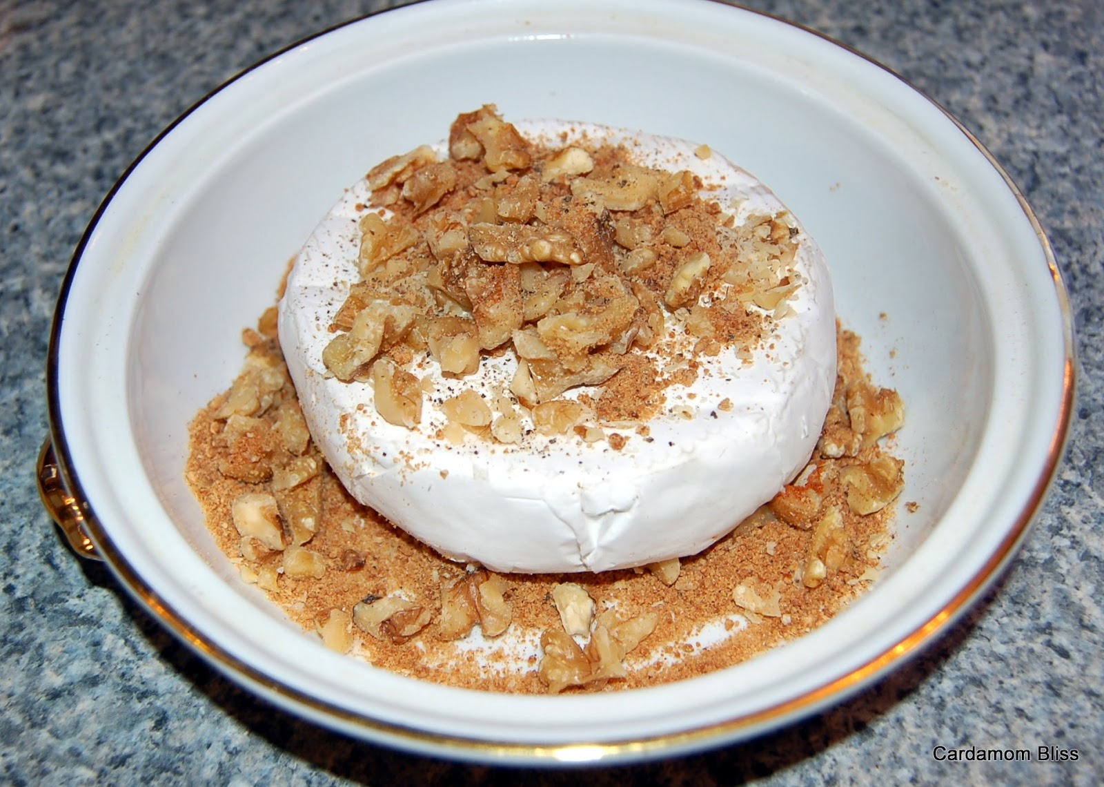 Baked Camembert with Jaggery and Walnuts