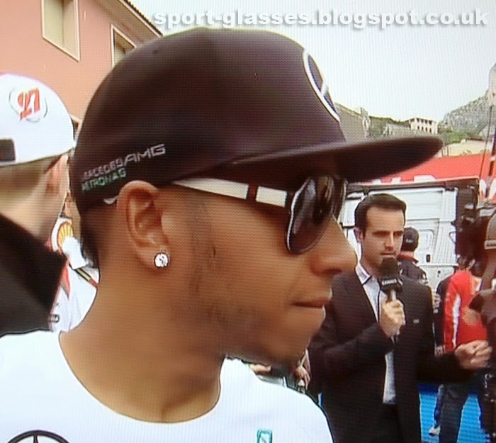 Lewis Hamilton Wearing Gucci Sunglasses at 2014 Monaco GP