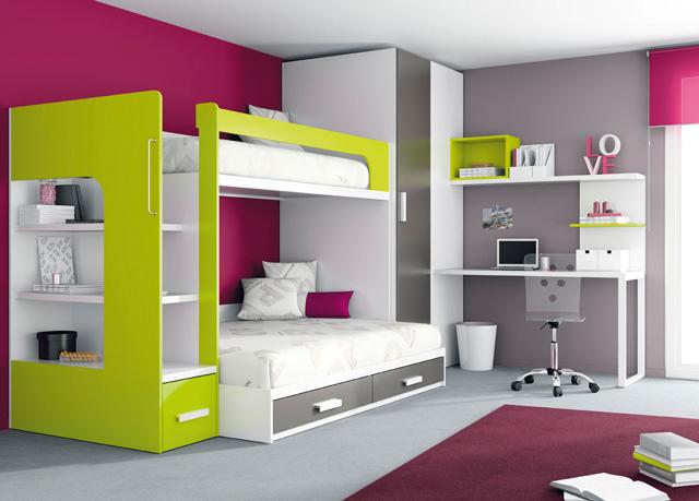 Habitaciones juveniles - Habitaciones juveniles con cama abatible ...