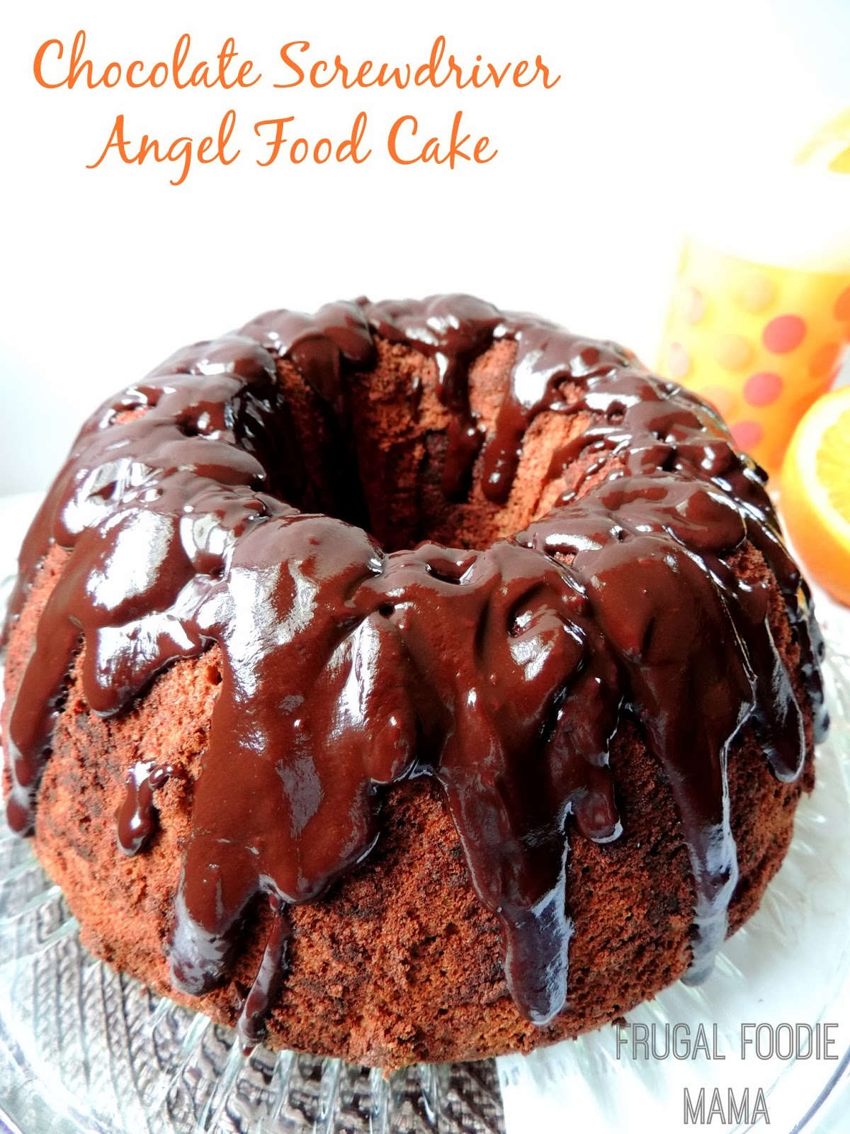 This Chocolate Screwdriver Angel Food Cake is a light, airy chocolaty orange angel food cake with a rich, gooey chocolate ganache glaze oozing down each slice of it.