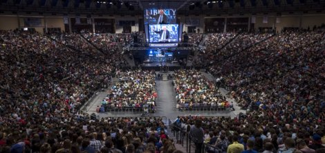Bernie Sanders at Liberty University in Lynchburg, Virginia