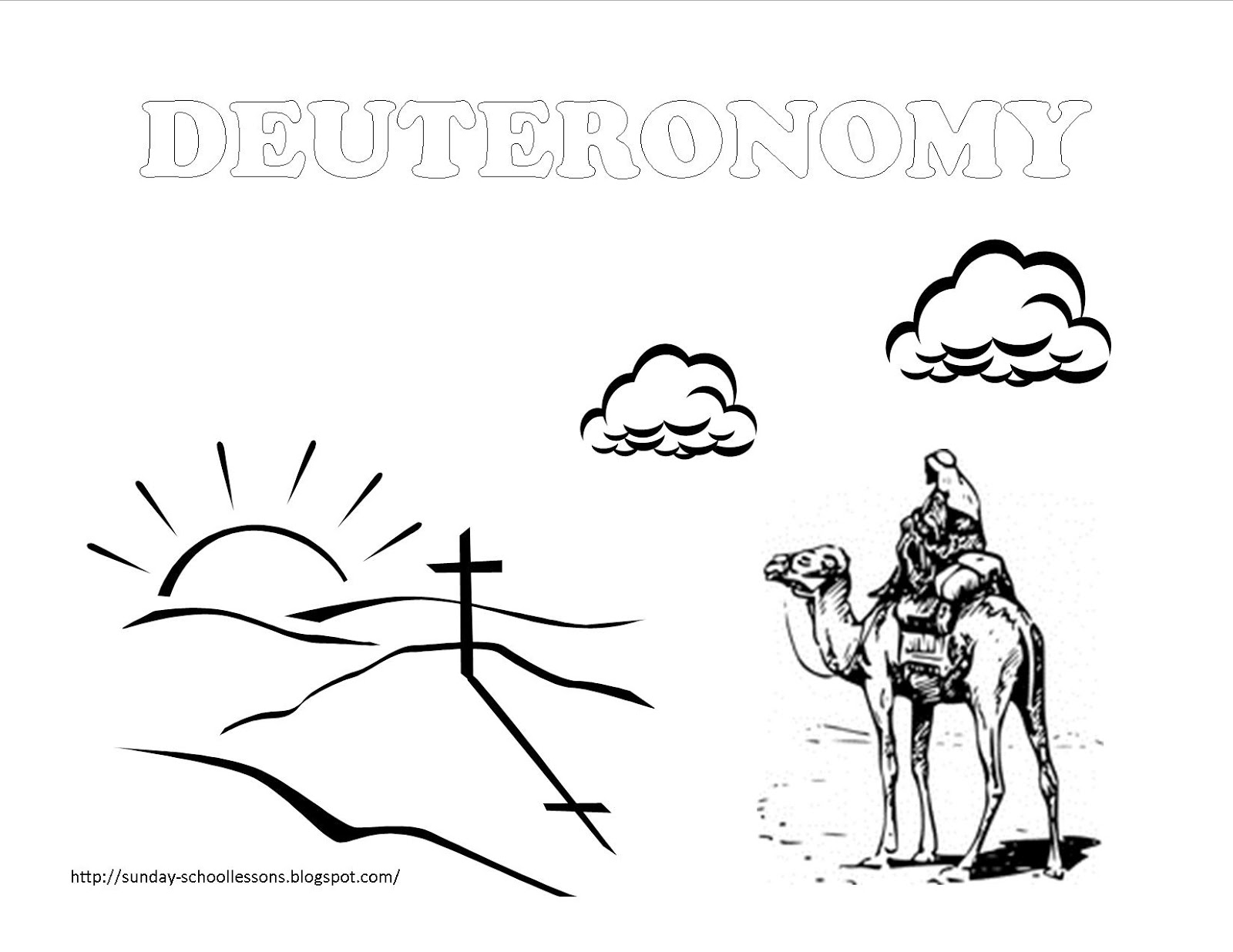 Sunday School Book Cover Page ~ Book of deuteronomy sunday school coloring pages