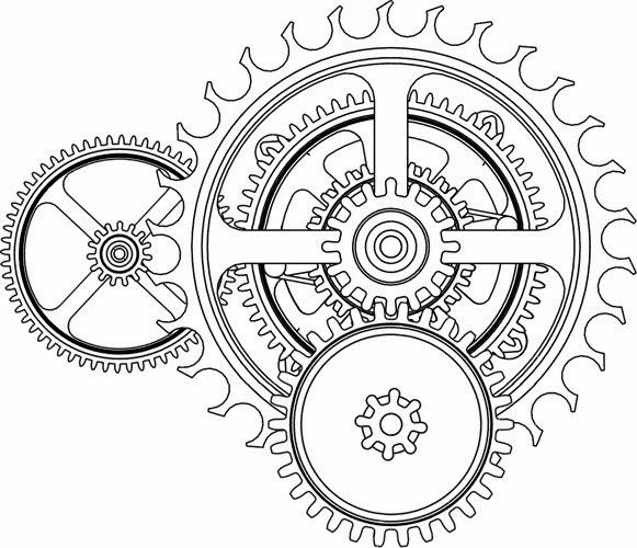 Gears biomechanical (steampunk) tattoo stencil