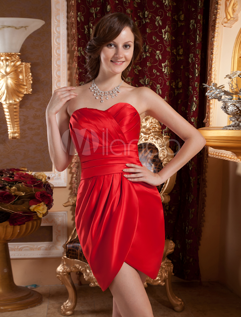 China Wholesale Clothes - Red Sheath Pleated Sweetheart Neck Satin Cocktail Dress Cocktail Dress