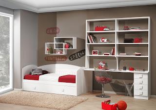 dormitorio lacado blanco con cama nido