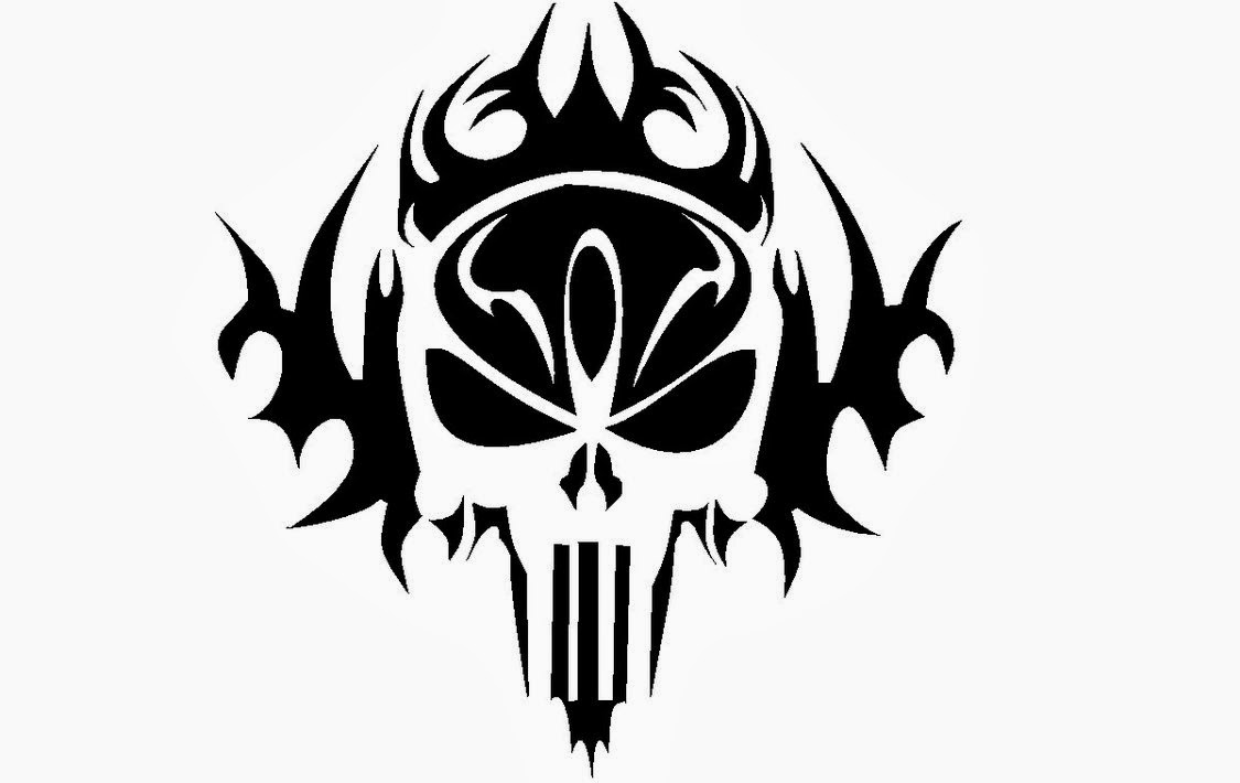 Skull tribal tattoo stencil