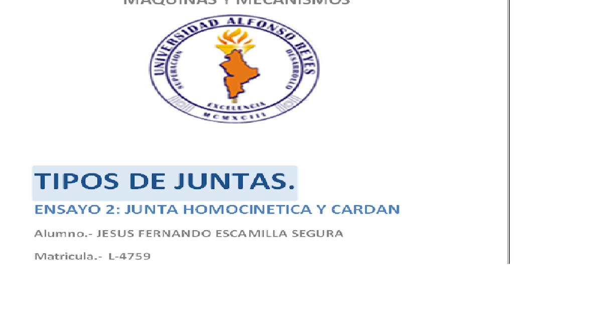 SEGUNDO ENSAYO...TIPOS DE JUNTAS: TIPOS DE JUNTAS EN MECANISMOS