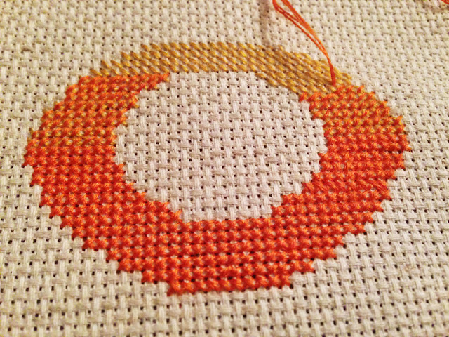 Ombre cross-stitched table numbers // Step 4