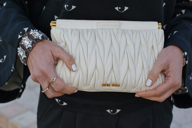 Miu Miu drape clutch, infinity spadarella ring, Essie white nail polish, Fashion and Cookies, fashion blogger