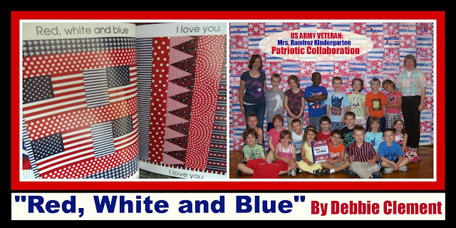 "Collaborative Kindergarten Patriotic Quilt in Response to ""Red, White and Blue"" by Debbie Clement"