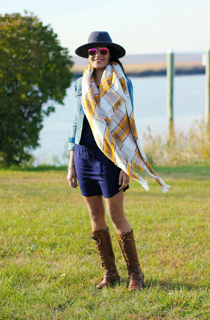 ASOS blanket scarf, ASOS oversized plaid scarf, Blanket Scarf, Gap Denim Jacket, Bobi LA