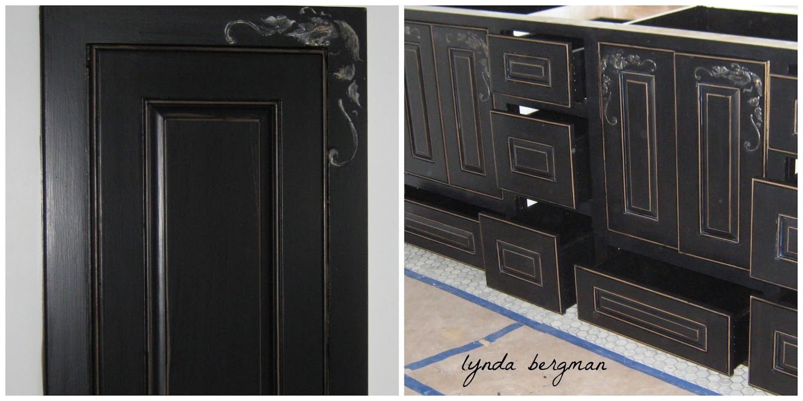 Lynda bergman decorative artisan painting black for Black and silver cabinet