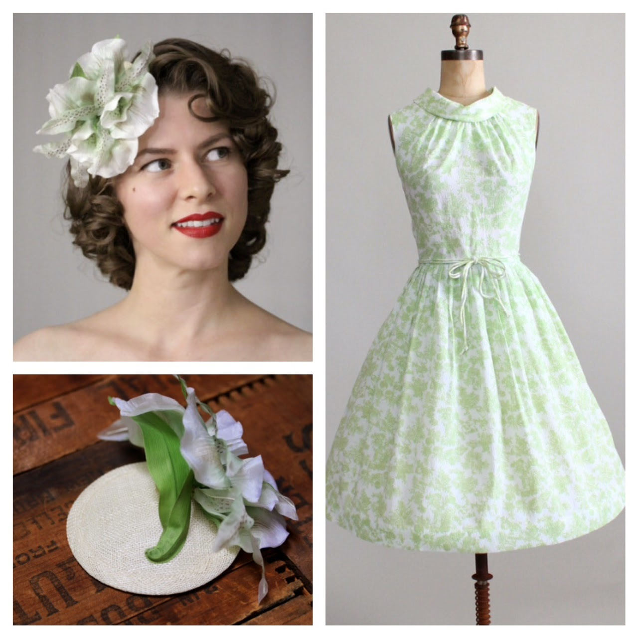 Mint Julep - vintage 50s/60s pairing #vintage #dress #1960s #fashion #orchid #green