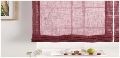Translucent linen curtains. Purple fabric curtain