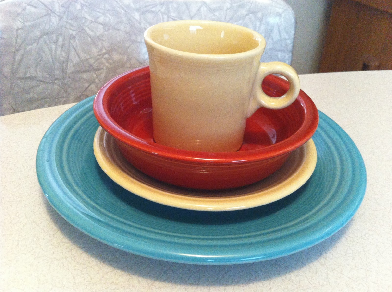 We love the history behind these dishes and thought it would be best to start from scratch and purchase brand new sets of colors we wanted. & living in the past: Fiesta ware - the winner of our everyday dishes