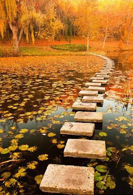 Paisaje de Otoño - Camino sobre el lago en Polonia