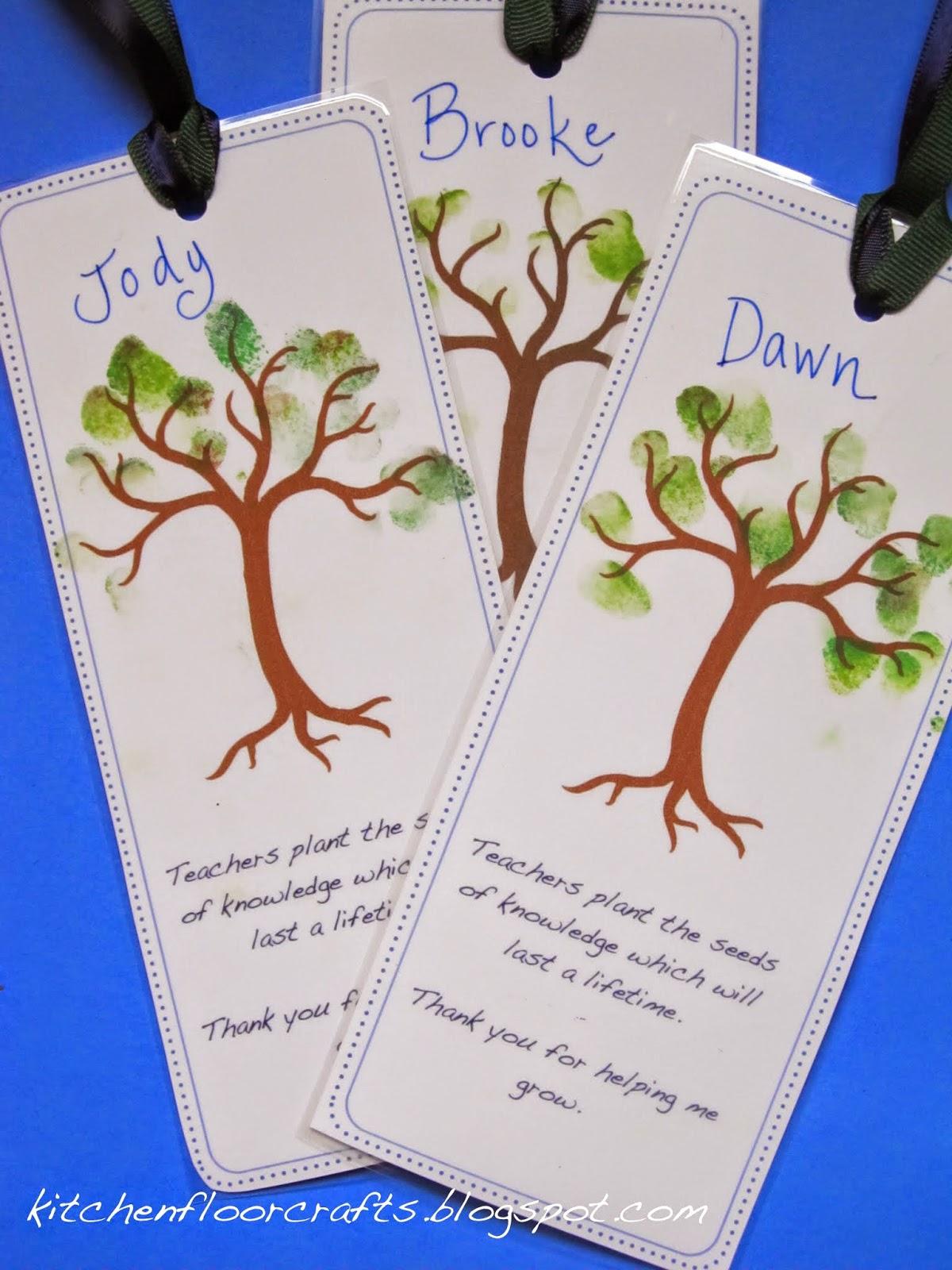 Kitchen floor crafts teacher thank you tree bookmarks for Thank you crafts for teachers