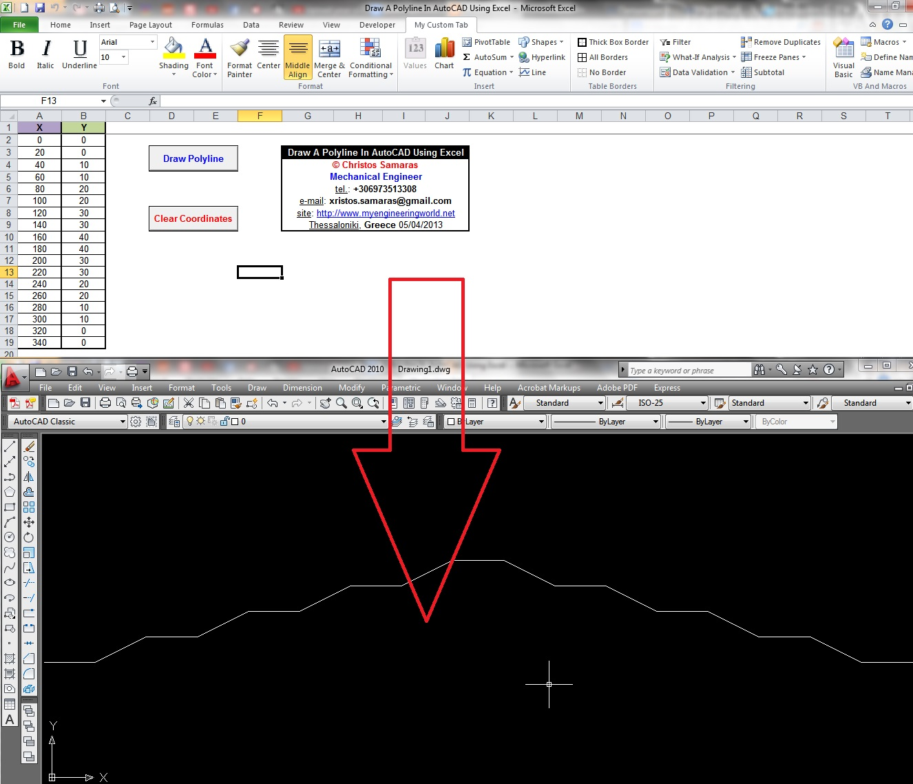 Draw A Polyline In AutoCAD Using Excel