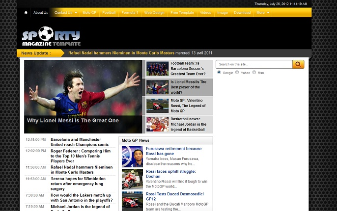 pro photo blog templates - professional sports news template for blogger template