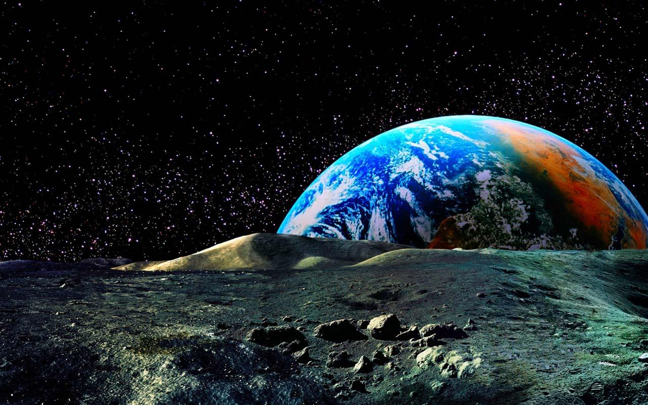 Cool photos 3d moon and earth wallpaper for 3d outer space