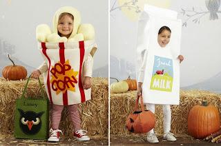 Fantasia Infantil de pacote de pipoca e caixa de leite